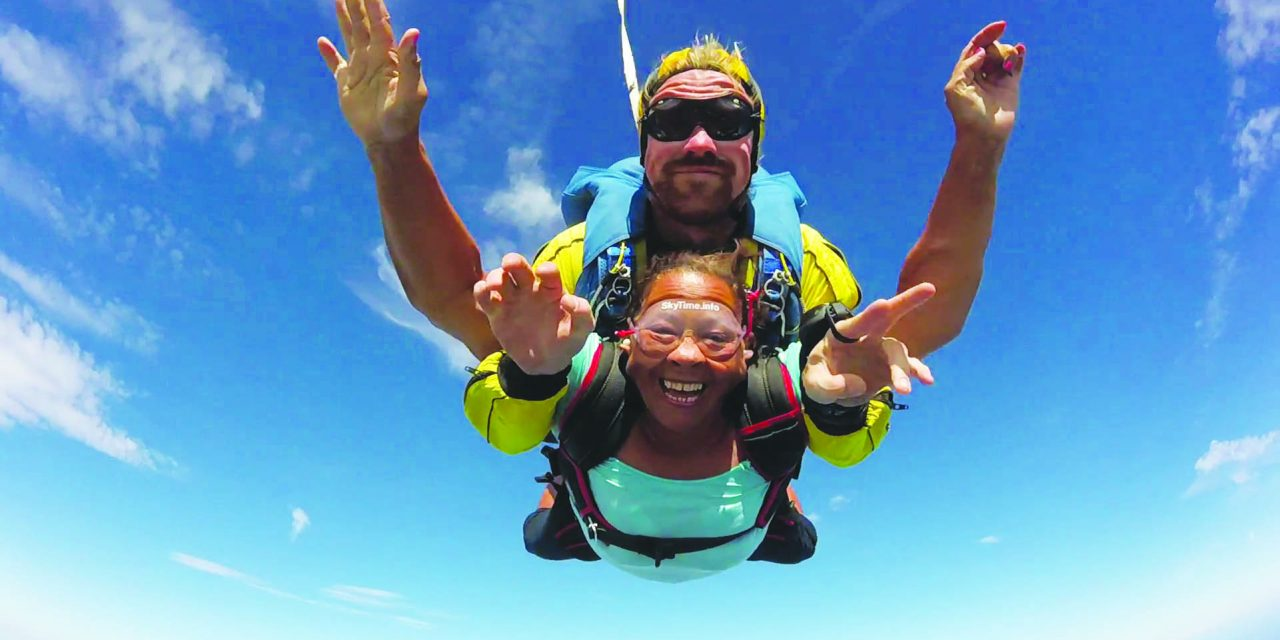Tandem sky-jump for charity